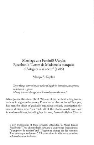 Marriage As Feminist Utopia Riccobonis Lettre De Madame