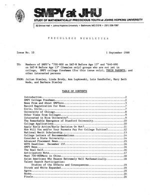 Primary view of object titled 'Precollege Newsletter, Number 10, September 1, 1988'.