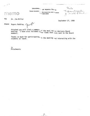 Primary view of object titled '[Memo from Rogers Redding to Jim Miller, September 27, 1988]'.