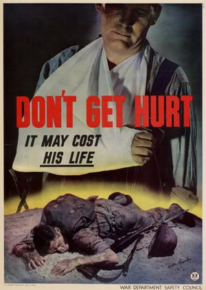 Primary view of object titled 'Don't get hurt : it may cost his life.'.