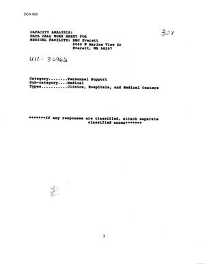 Primary view of object titled 'Data Calls 1995 - Branch Medical Information - Everett, WA; French Creek, Camp Lejeune, NC; Naval Branch Clinic, Great Lakes, IL; Gulfport, MS'.