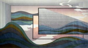 Primary view of object titled '[blue and green waves layered amongst gray and brown frames]'.