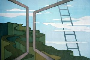 [frames, clouds, ladder, and wavy canyons]