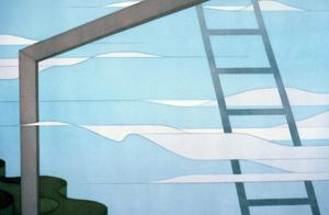 [detail view of frames, clouds, ladder, and wavy canyons]