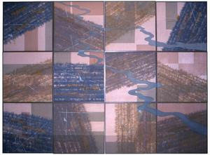 Primary view of object titled '[12 panel handmade paper and silk artwork]'.