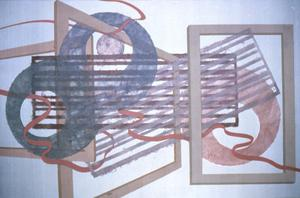Primary view of object titled '[handmade paper on silk artwork]'.