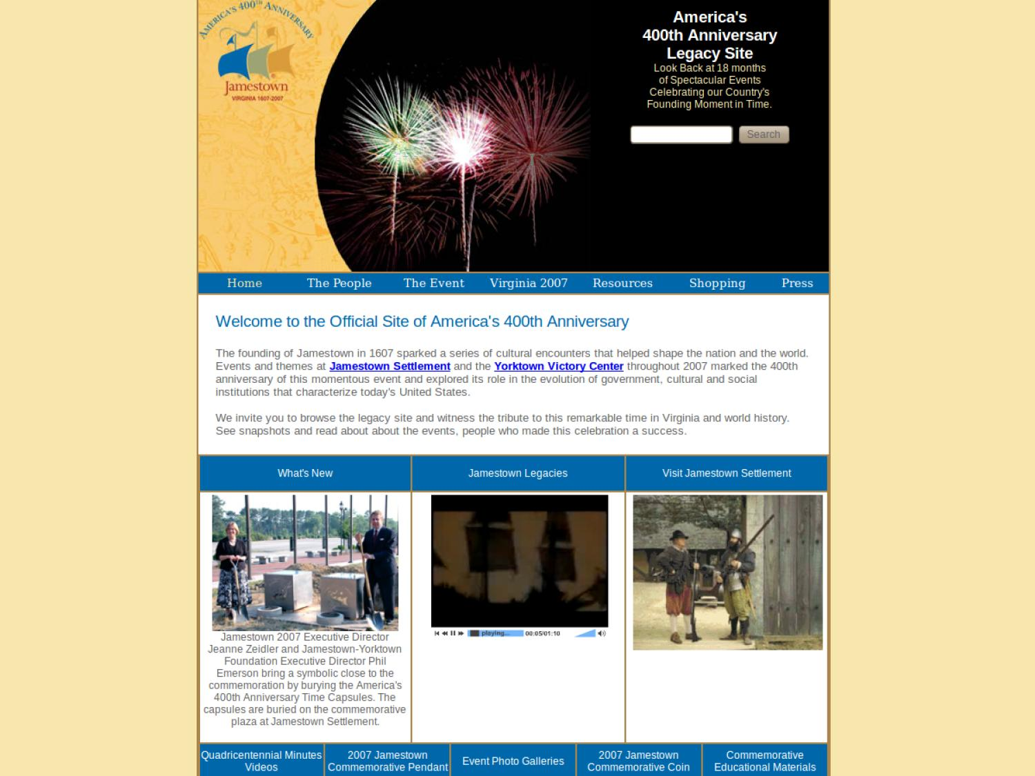 Official Site of America's 400th Anniversary                                                                                                      [Sequence #]: 1 of 1