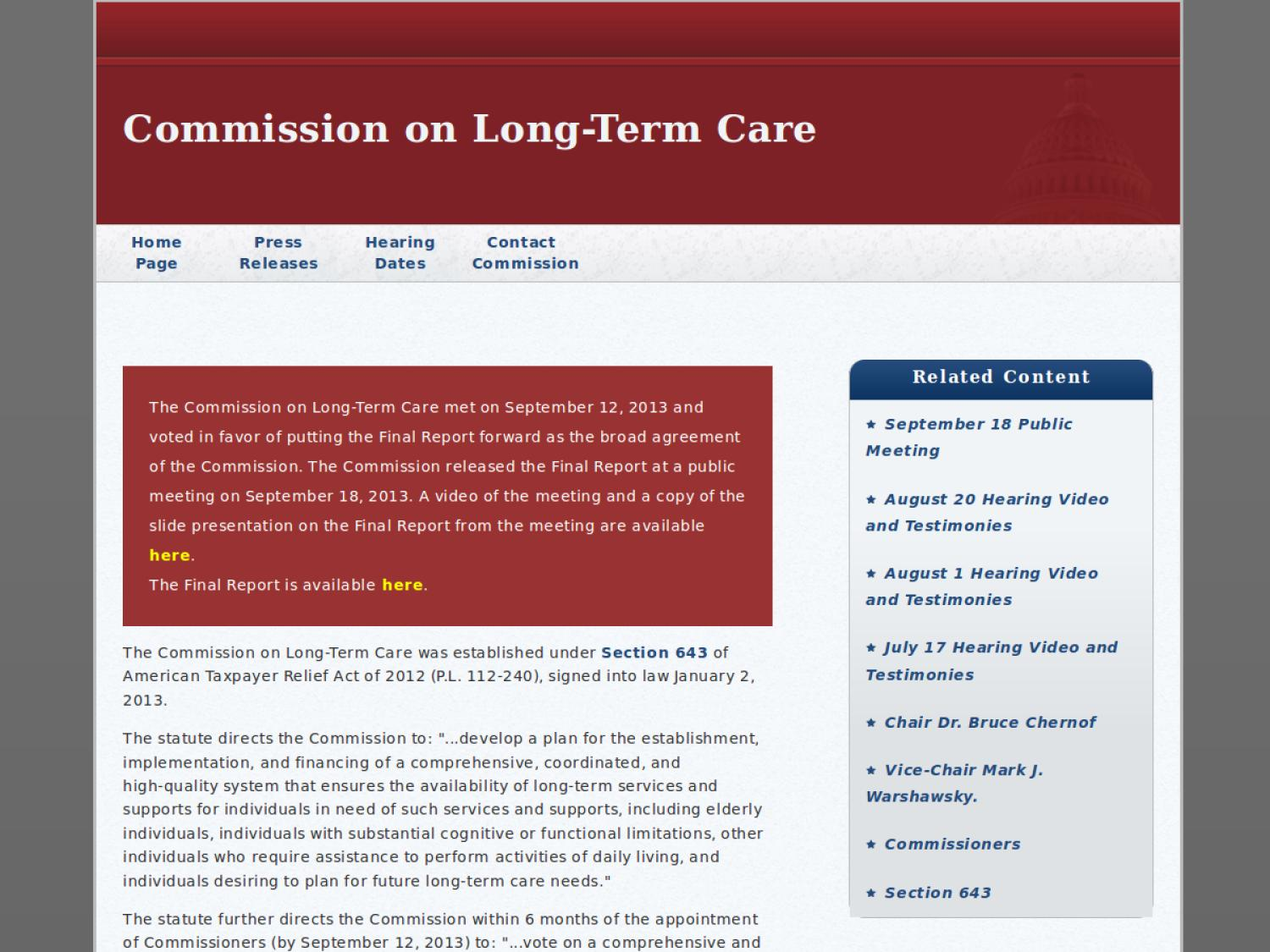 Commission on Long-Term Care                                                                                                      [Sequence #]: 1 of 1
