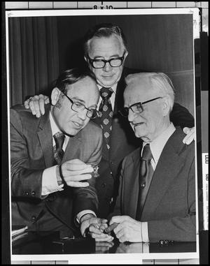 Primary view of object titled '[Edy Ann Sullivan with Two Men]'.
