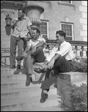 Primary view of object titled '[Male Students on Steps of a Building]'.