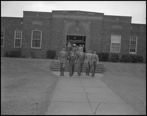 Primary view of object titled '[Group leaving Robert E. Lee School]'.