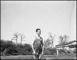Primary view of object titled '[Student at Track event, 1942]'.