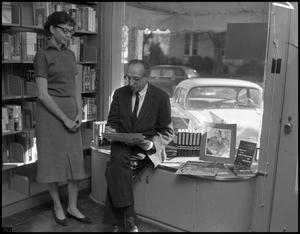 Primary view of object titled '[Aaron Copland in Shop]'.