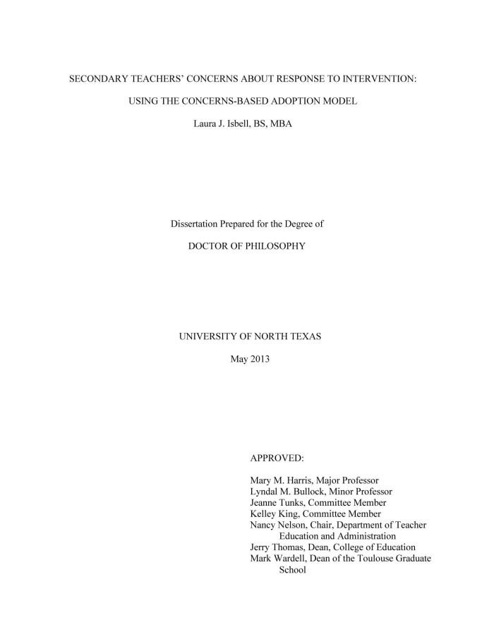 Dissertations on response to intervention