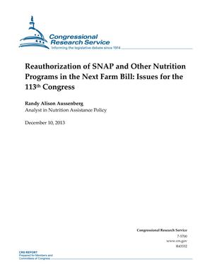 Reauthorization of SNAP and Other Nutrition Programs in the Next Farm Bill: Issues for the 113th Congress