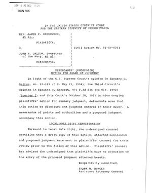 Primary view of object titled 'Litigation - Greenwood Vs. Dalton-NAWC Warminster, PA'.