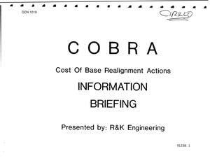 Primary view of object titled 'Air Force Team BRAC 1995 - COBRA Briefing; COBRA Realignment Summary; Data as of 06/14/1993 - FY 1996 Budget Briefing Charts'.