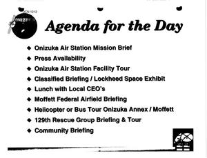 Primary view of object titled 'Moffett Field Air Guard Station, CA - Cost of Base Realignment Action; Onizuka Air Station Visit and Fact Sheets; San Francisco Regional Hearing Agenda'.