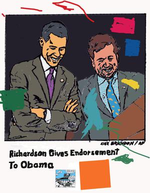 Primary view of object titled 'Richardson Endorses Obama'.