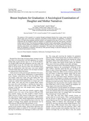 Breast Implants for Graduation: A Sociological Examination of Daughter and Mother Narratives