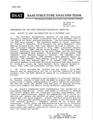 Primary view of object titled 'Memorandums - Base Structure Evaluation Committee - 22 NOV 94, 18 NOV 94, 28 NOV 94, 29 NOV 94'.