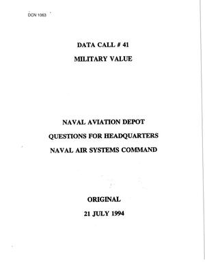 Primary view of object titled 'Naval Air Systems Command - Data Call'.