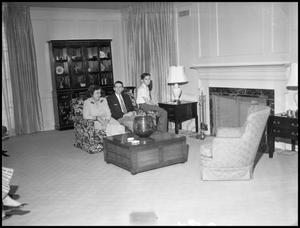 Primary view of object titled '[President's House, Interior, with members of the Matthews family]'.