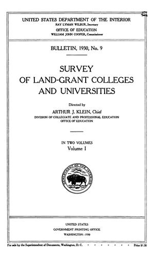 Primary view of object titled 'Survey of Land-Grant Colleges and Universities, Volume 1'.