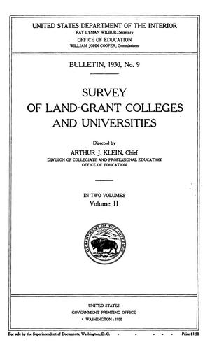Survey of Land-Grant Colleges and Universities, Volume 2