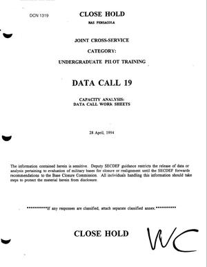 Primary view of object titled 'JCSG UPT - Data Call, 28 April 1994'.
