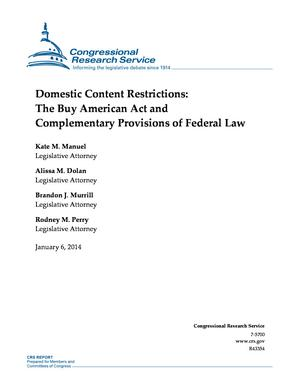 Domestic Content Restrictions: The Buy American Act and Complementary Provisions of Federal Law