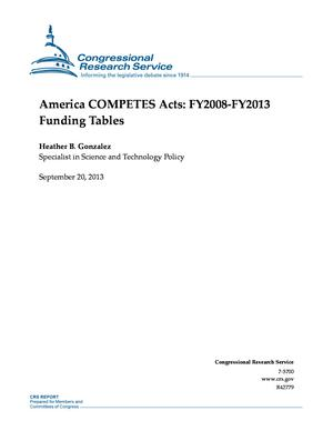 America COMPETES Acts: FY2008-FY2013 Funding Tables