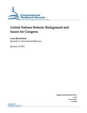 United Nations Reform: Background and Issues for Congress