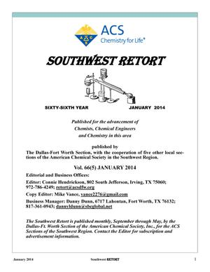Primary view of object titled 'Southwest Retort, Volume 66, Number 5, January 2014'.