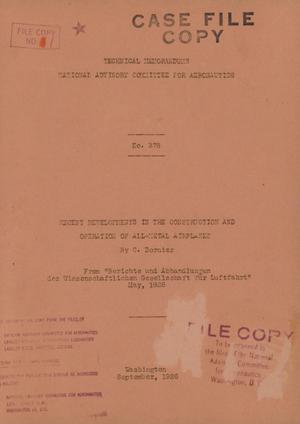 Primary view of object titled 'Recent developments in the construction and operation of all-metal airplanes'.
