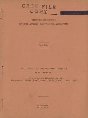 Primary view of Development of Light and Small Airplanes