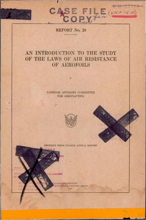 Primary view of object titled 'An Introduction to the Laws of Air Resistance of Aerofoils'.