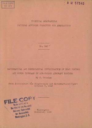 Primary view of object titled 'Mathematical and experimental investigation of heat control and power increase in air-cooled aircraft engines'.