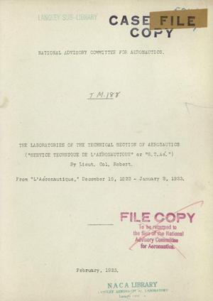 Primary view of object titled 'The laboratories of the Technical Section of Aeronautics (Service Technique de L'Aeronautique or S.T.Ae.)'.