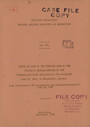 Primary view of object titled 'Digest of some of the speeches made at the fifteenth regular meeting of the Wissenschaftliche Gesellschaft fur Luftfahrt : June 17, 1926, in Dusseldorf, Germany'.