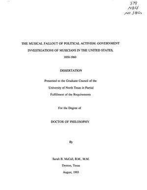 Primary view of object titled 'The Musical Fallout of Political Activism: Government Investigations of Musicians in the United States, 1930-1960'.