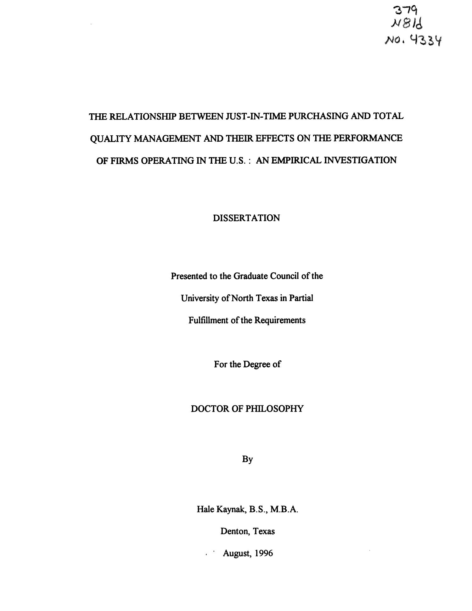 Phd thesis on total quality management