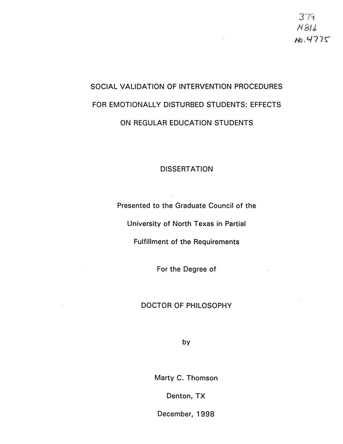 Emotionally Disturbed Students At >> Social Validation Of Intervention Procedures For Emotionally