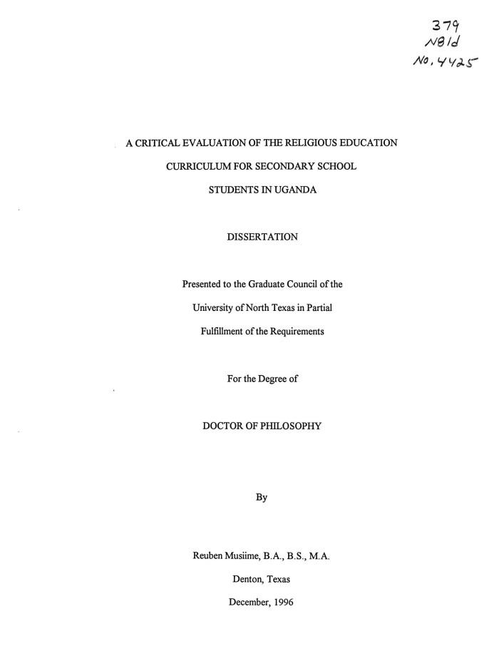 critical evaluation of dissertation