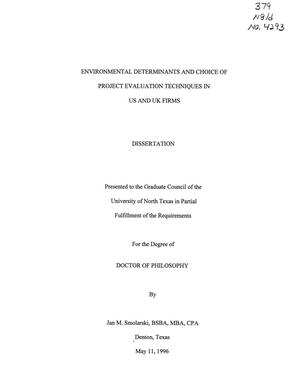 Primary view of object titled 'Environmental Determinants and Choice of Project Evaluation Techniques in US and UK Firms'.