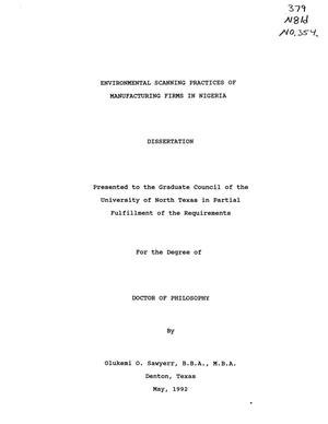 Primary view of object titled 'Environmental Scanning Practices of Manufacturing Firms in Nigeria'.