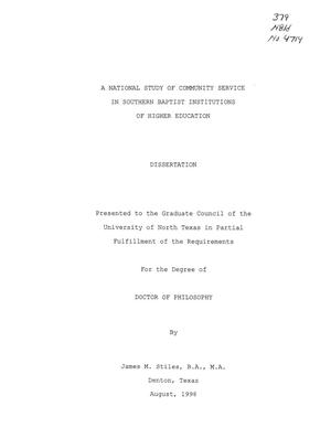 Primary view of object titled 'A National Study of Community Service in Southern Baptist Institutions of Higher Education'.