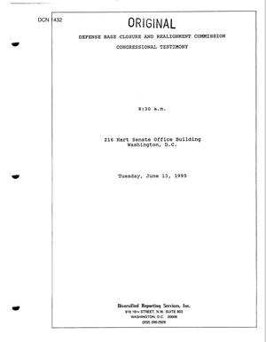 Primary view of object titled 'Congressional Hearing and Transcript, June 13, 1995 (Part 1 of 2)'.