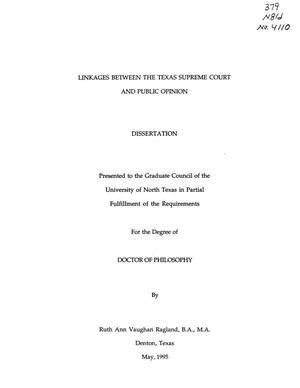 Primary view of object titled 'Linkages between the Texas Supreme Court and Public Opinion'.