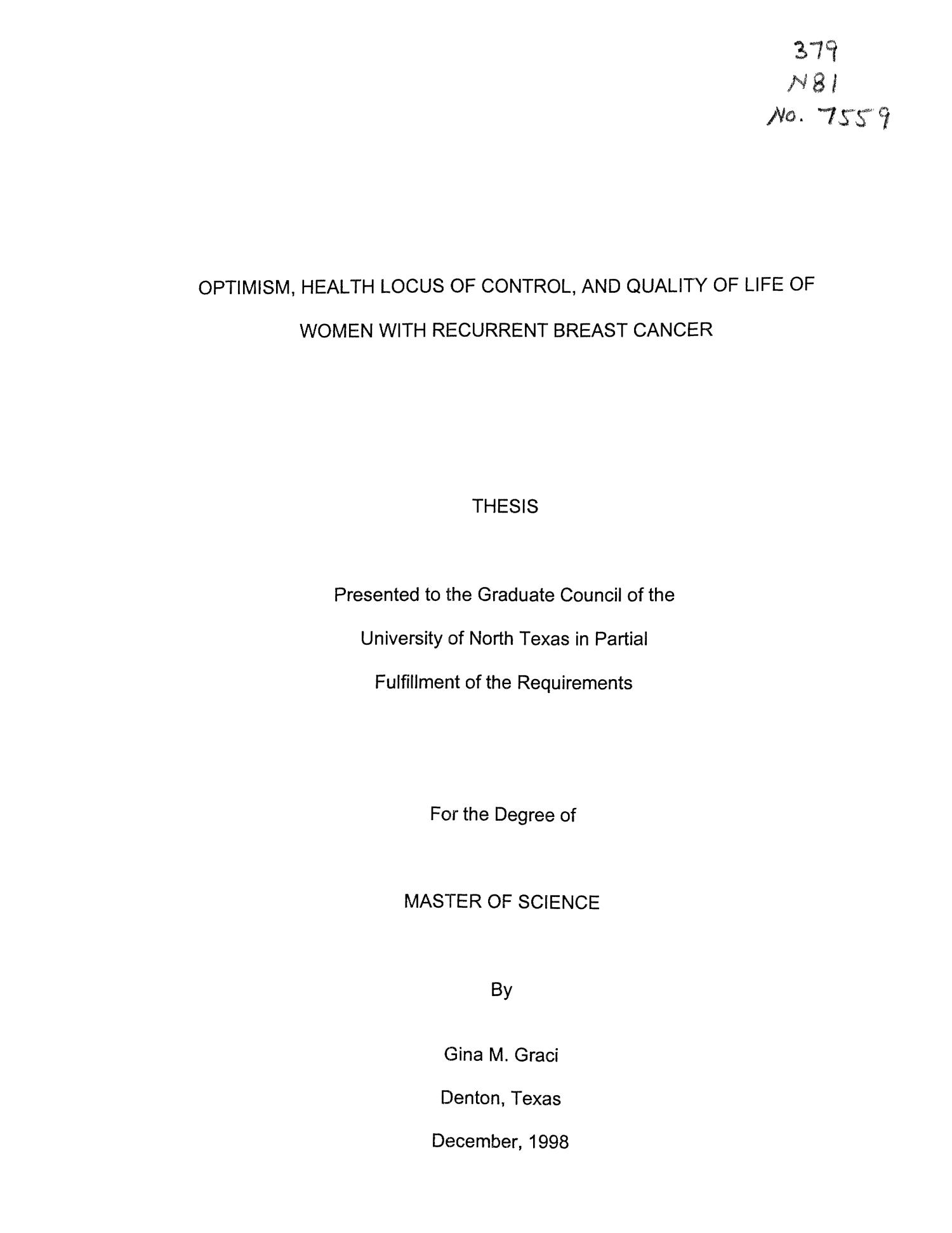 Optimism, Health Locus of Control, and Quality of Life of Women with Recurrent Breast Cancer                                                                                                      Title Page